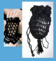 Crocheted Set Gloves and Pocketbook for Jointed Body