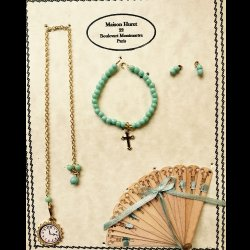 Small Cross W/Light Turquoise Beads