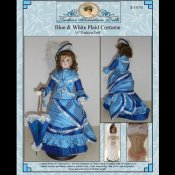 "Blue and White Plaid Costume for 16"" French Fashion Doll"